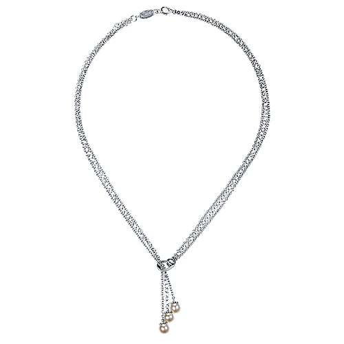925 Silver Contemporary Lariat Necklace angle 2