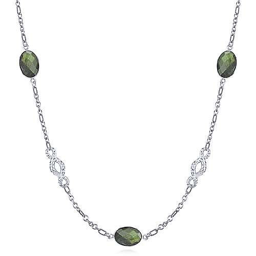 925 Silver Contemporary Station Necklace