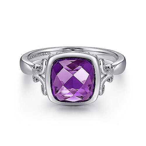Gabriel - 925 Silver Cushion Cut Fashion Amethyst Ladies Ring