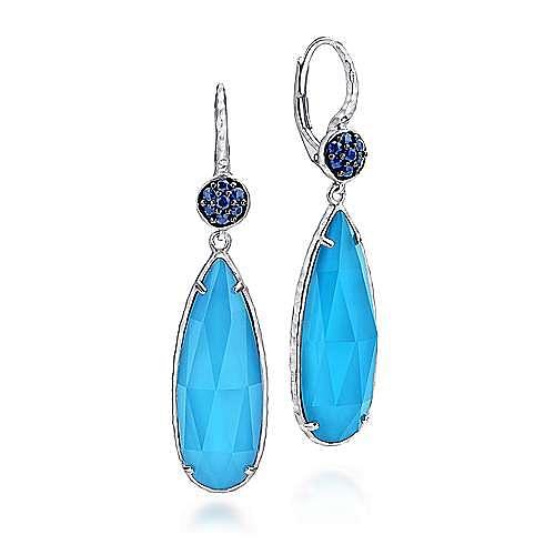925 Silver Drop Multi Color Stones Earrings