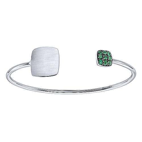 925 Silver Emerald Engravable Bangle angle 1