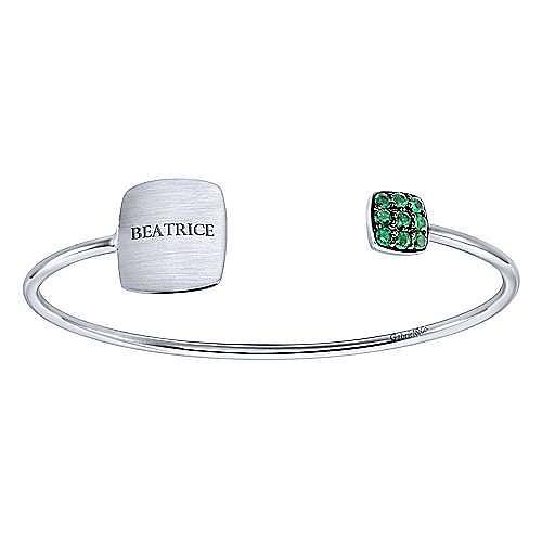 925 Silver Emerald Engravable Bangle angle 4