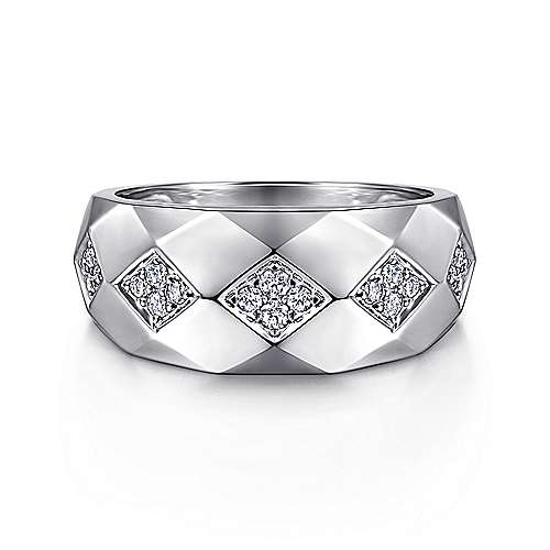 925 Silver Faceted Diamond Ring