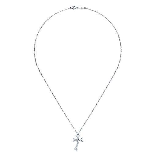 925 Silver Faith Cross Necklace angle 2