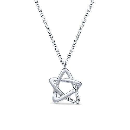 925 Silver Faith Star Of David Necklace angle 1