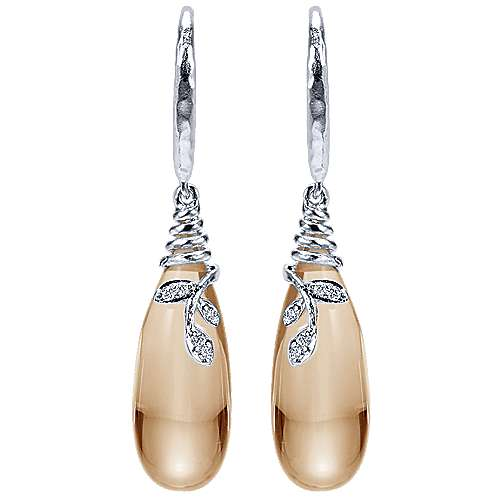 925 Silver Floral Drop Earrings angle 1