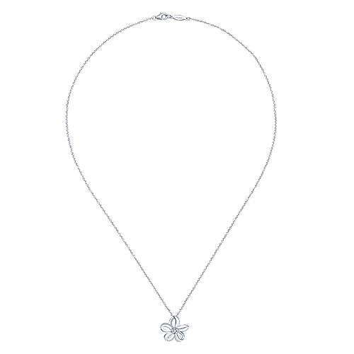 925 Silver Floral Fashion Necklace angle 2