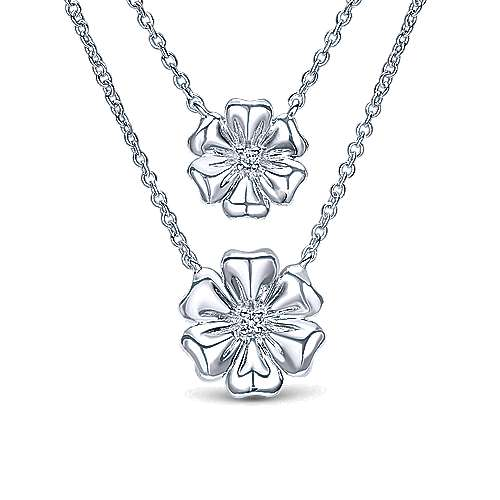 925 Silver Floral Fashion Necklace angle 1