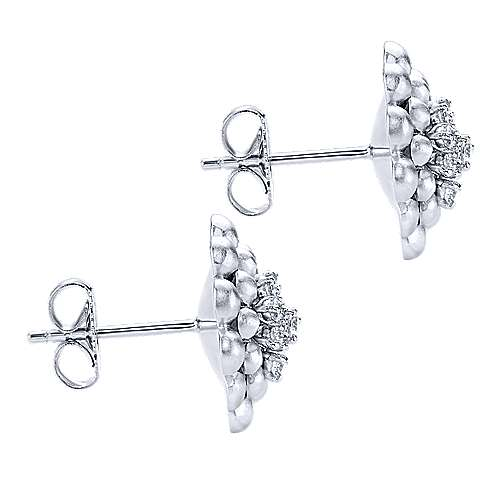 925 Silver Floral Stud Earrings angle 3