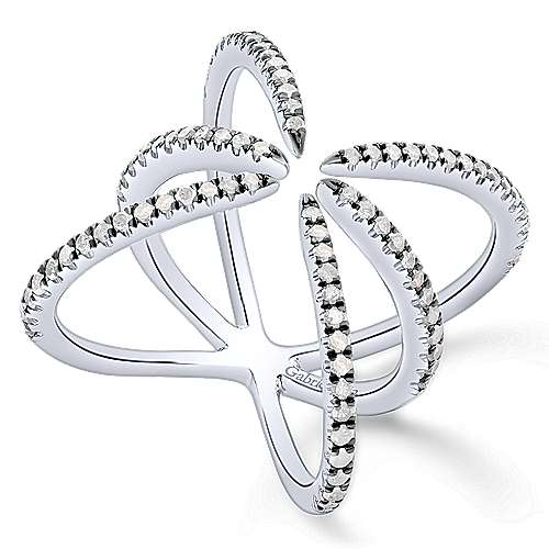 925 Silver Front Row Fashion Ladies' Ring angle 3