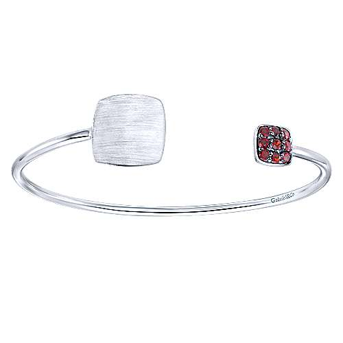 925 Silver Garnet Engravable Bangle angle 1