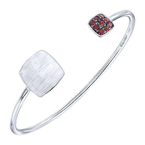 925 Silver Garnet Engravable Bangle angle 2