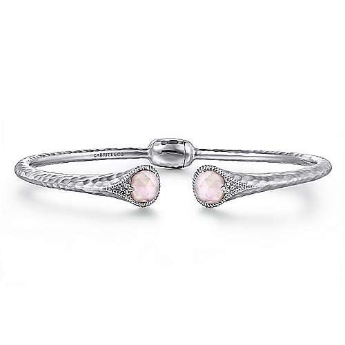 925 Silver Hinged Cuff Rock Crystal & Pink Mother Pearl Bangle