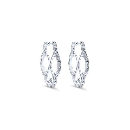 925 Silver Hoops Intricate Hoop Earrings angle 1