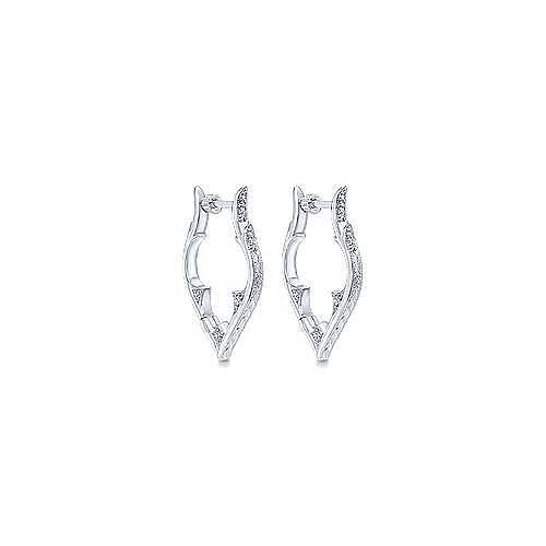 925 Silver Hoops Intricate Hoop Earrings angle 1