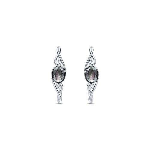 925 Silver Hoops Intricate Hoop Earrings angle 3