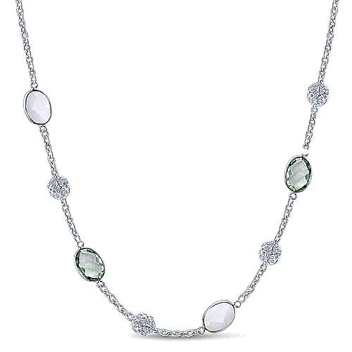 925 Silver Infinite Gems Station Necklace angle 1