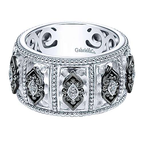 925 Silver Mediterranean Wide Band Ladies' Ring angle 1