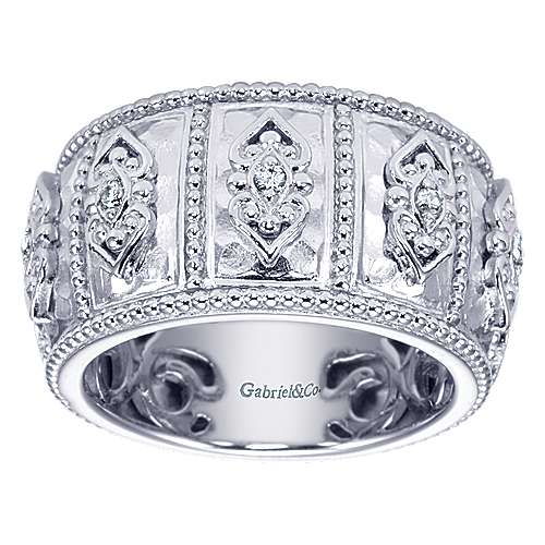 925 Silver Mediterranean Wide Band Ladies' Ring angle 5