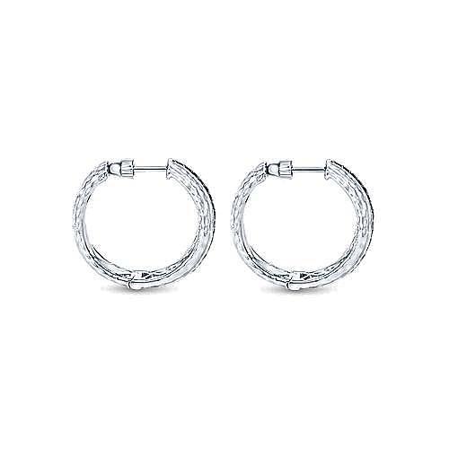 925 Silver Pave (0.66ct.) 20mm Round Black Diamond Hoop Earrings