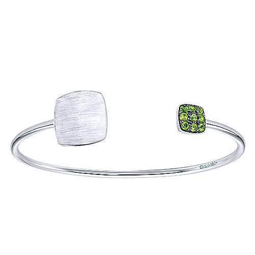 925 Silver Peridot Engravable Bangle angle 1