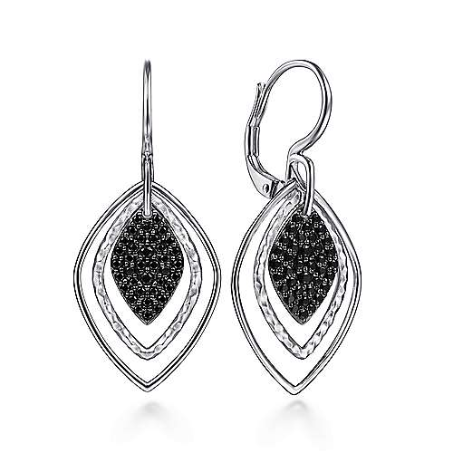 925 Silver Plated Layered Black Spinel Cluster Earrings