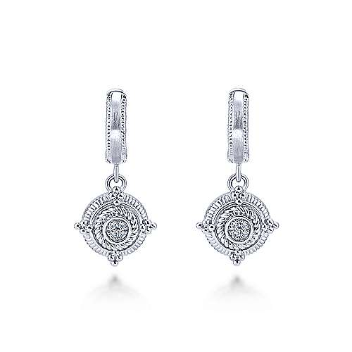 925 Silver Roman Drop Earrings angle 1