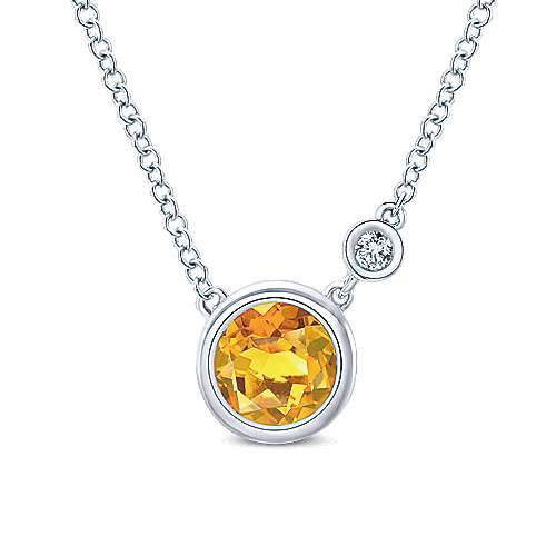 Gabriel - 925 Silver Round Fashion Citrine Necklace