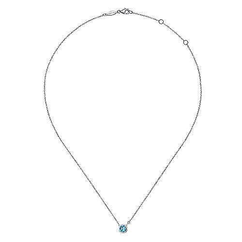 925 Silver Round Fashion Swiss Blue Topaz Necklace