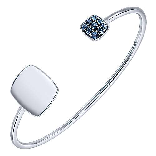 925 Silver Sapphire Engravable Bangle angle 2