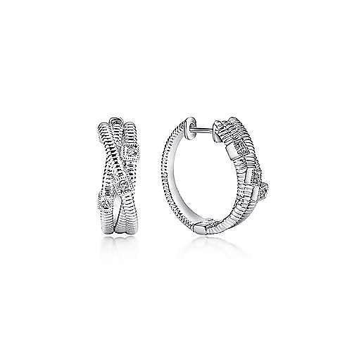 Gabriel - 925 Silver Scalloped Huggie Earrings