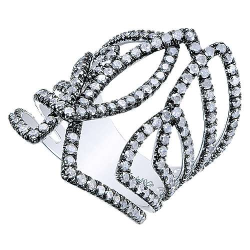 925 Silver Shadow Play Fashion Ladies' Ring angle 3