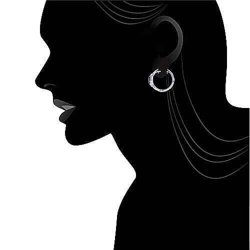925 Silver Silk Huggie Earrings angle 4