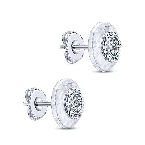 925 Silver Souviens Stud Earrings angle 2