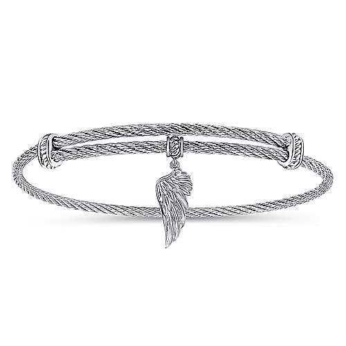 Gabriel - 925 Silver/Stainless Steel Charm Angel Wing Bangle