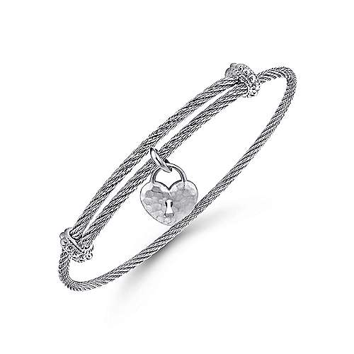 925 Silver/Stainless Steel Heart Shaped Charm Bangle