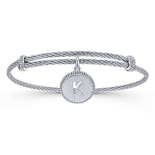 Gabriel - 925 Silver/Stainless Steel Initial K Bangle