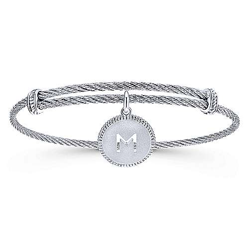 925 Silver/Stainless Steel Initial M Bangle