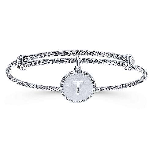 Gabriel - 925 Silver/Stainless Steel Initial T Bangle