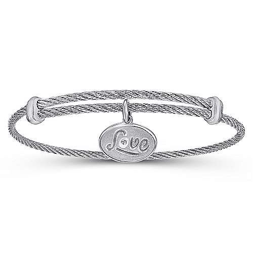 Gabriel - 925 Silver/Stainless Steel Oval Charm Bangle