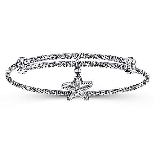 Gabriel - 925 Silver/Stainless Steel Starfish Charm Bangle