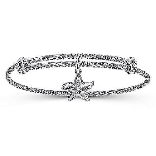 Gabriel - 925 Silver/Stainless Steel Starfish Charm Bangle