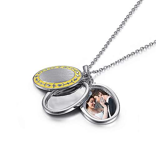 925 Silver Swing Locket Necklace angle 3