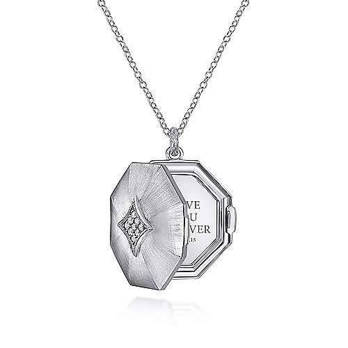 925 Silver Treasure Chests Locket Necklace angle 3