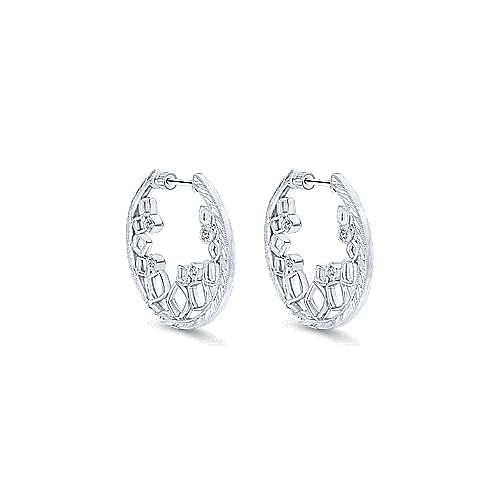 925 Silver Victorian Intricate Hoop Earrings