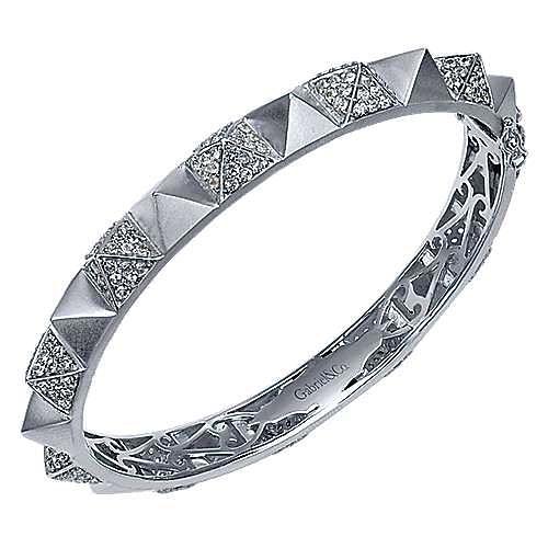 925 Silver White Sapphire Pavé Pyramid Bangle