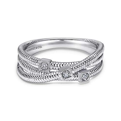 Gabriel - 925 Silver Wide Band Three Layered Ladies Ring