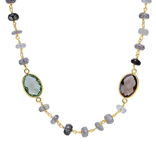 Gabriel - 925 Silver Yellow Plated Infinite Gems Station Necklace