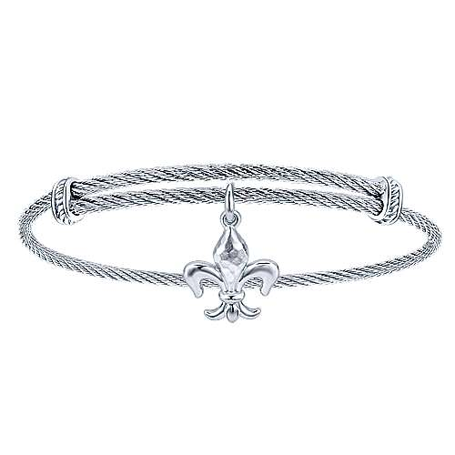 Gabriel - 925 Silver and Stainless Steel Fleur-de-lis Charm Bangle