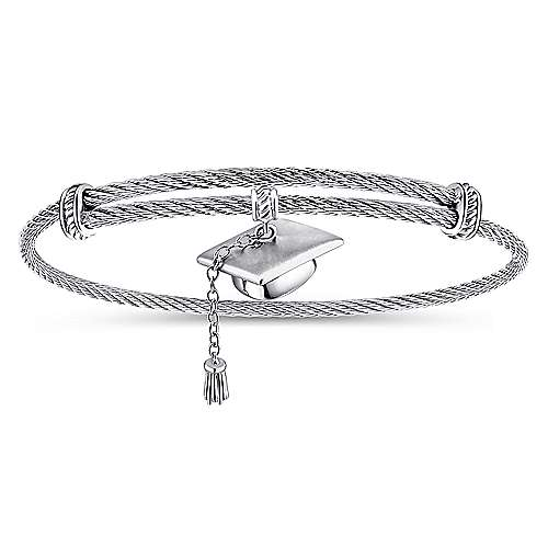 Gabriel - 925 Silver and Stainless Steel Graduation Cap Bangle